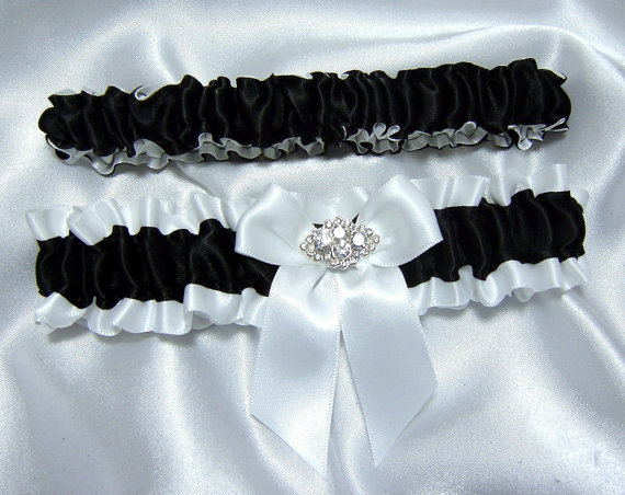 Mariage - Classic Black and White Satin Wedding Garter Set w/ Sparkling Crystals - Toss Garter Included - Plus Size Too