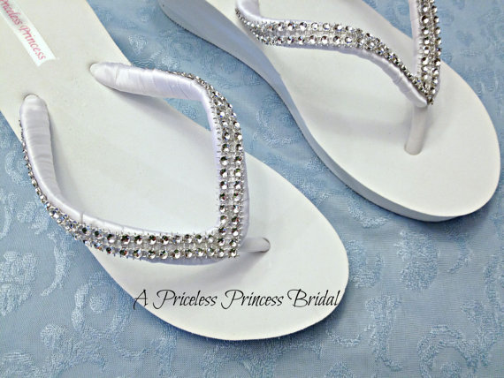 Düğün - Bridal Wedge Flip Flops White Ivory Beach Wedding Beach Wedding Shoes RhinestonesPlatform Girls Bridesmaid, Bling Crystal