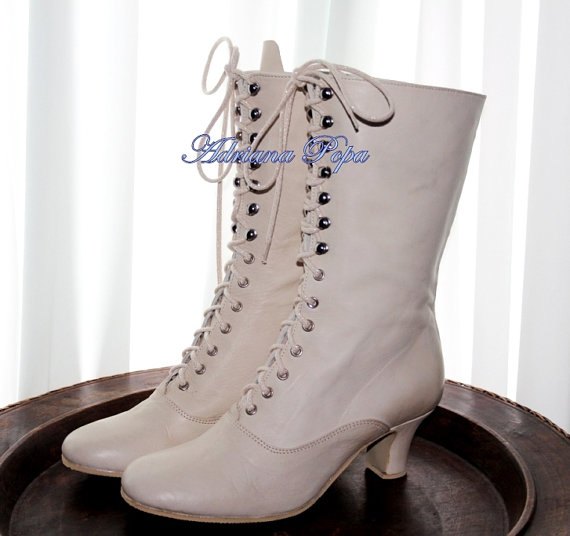 Off White Wedding Shoes Ivory Victorian Boots Bride In Leather Lace Up And High Heels Ankle Customized