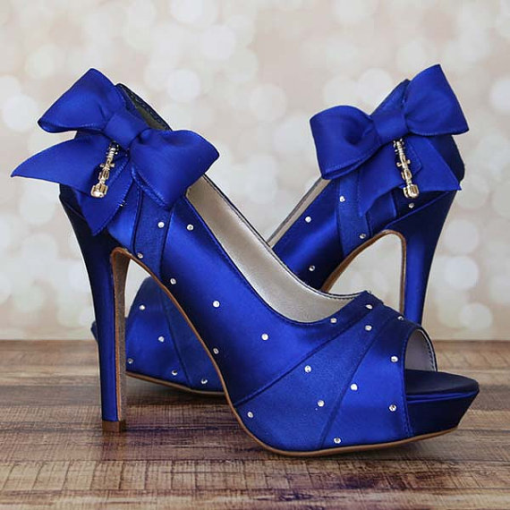 wedding shoes royal blue platform peep toe dr who