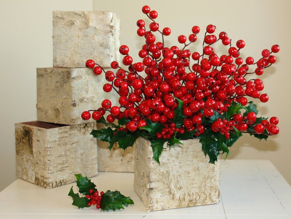 Christmas Centerpiece Birch Bark Vases, Wood Boxes, Square Wedding ...