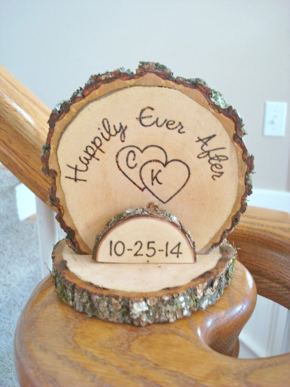 Cake Topper Personalized Rustic Wedding Romantic Country Wood