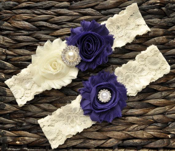 Mariage - Wedding Garter, Bridal Garter Set, Purple Wedding Garter, Purple Bridal Garter, Ivory Lace Garter, Ivory Wedding Garter Belt, Purple Garter