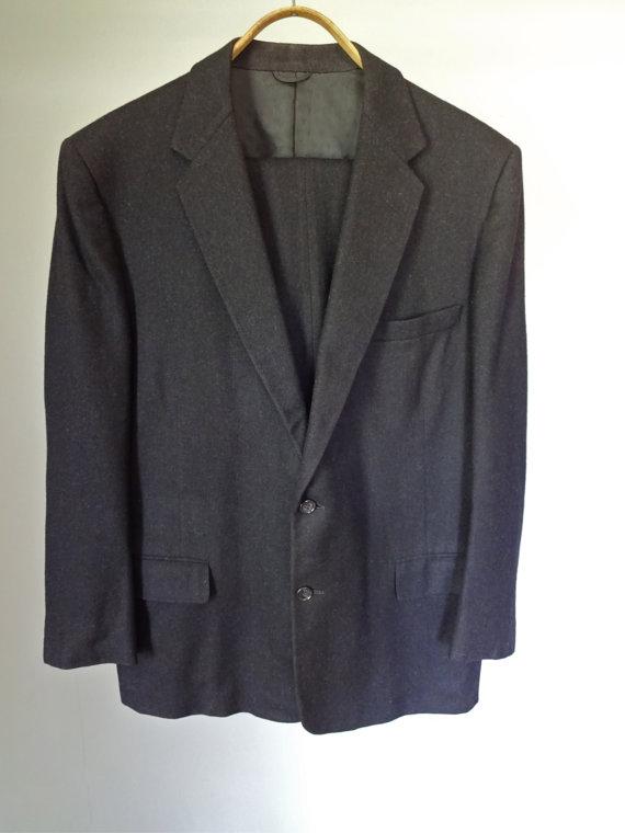 Wedding - Men's Suit Felt Black Wool 2 pc Jacket Pants Pleated Wedding Mad Men Mid Century