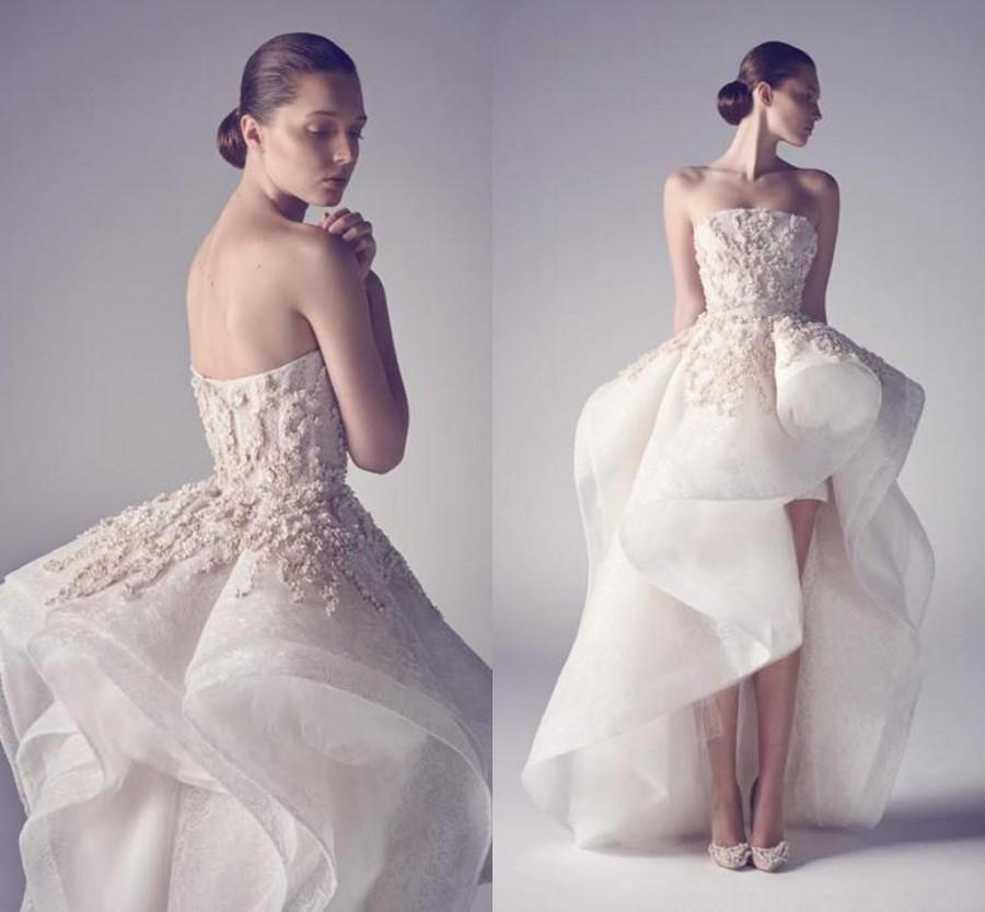 Ashi studio 2015 new arrival asymmetrical wedding drsses for Hi lo wedding dress