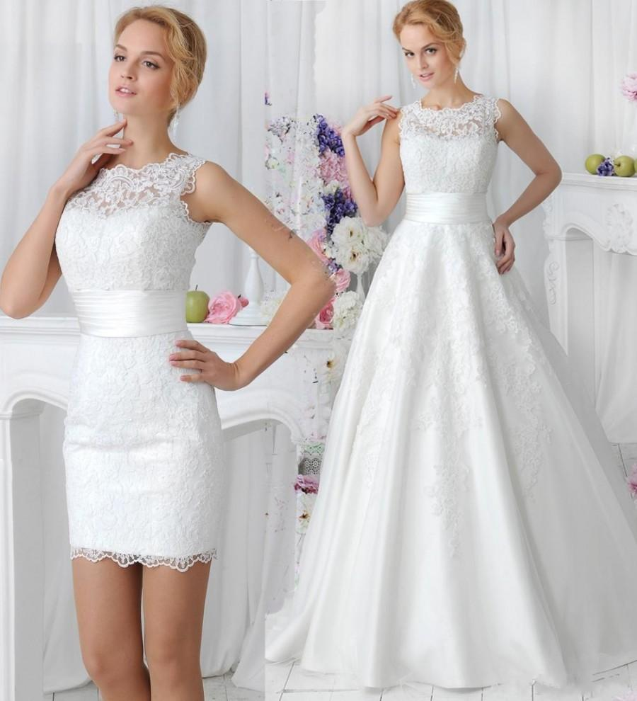Wedding - Charming A Line 2015 Wedding Dresses with Detachable Skirt Amelia Sposa Applique Sheer Crew Neck Simple Lace Bridal Dress Ball Gowns Online with $128.17/Piece on Hjklp88's Store