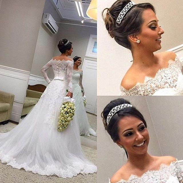 Wedding - Vintage Lace Wedding Dresses Long Sleeve 2015 Applique A-Line Sheer Bateau Covered Button Church Tulle Train Bridal Dress Gowns Ball Muslim Online with $125.5/Piece on Hjklp88's Store