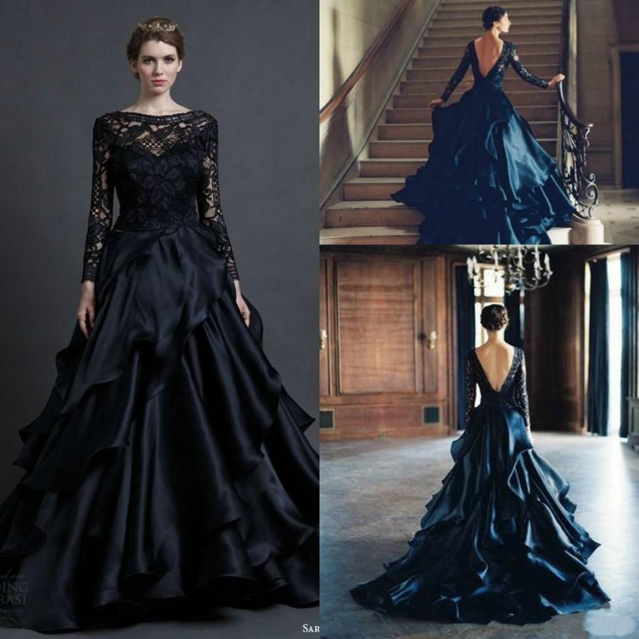 Gorgeous Black Long Sleeve Wedding Dresses Gown 2015