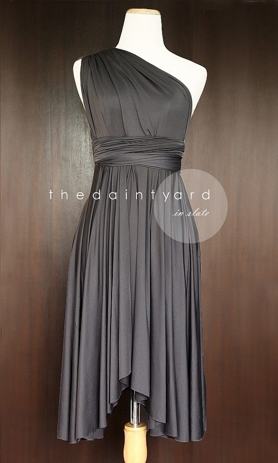 Slate Bridesmaid Dress Convertible Infinity Multiway Wrap Wedding Prom Tail Twist