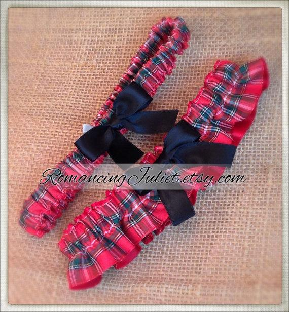 Mariage - Classic Tartan Skirted Satin Bridal Garter Set....Custom Colors Available..shown with black accent