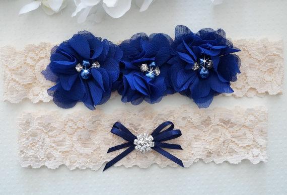 Свадьба - Wedding Garter Set, Pearl and Rhinestone Garter Set, Something Blue - Style L230