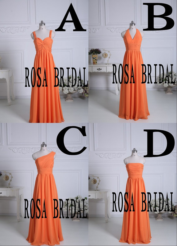 Mariage - Orange bridesmaid dress long, chiffon bridesmaid dress,  Cheap bridesmaid dress, Wedding bridesmaid dress custom size color