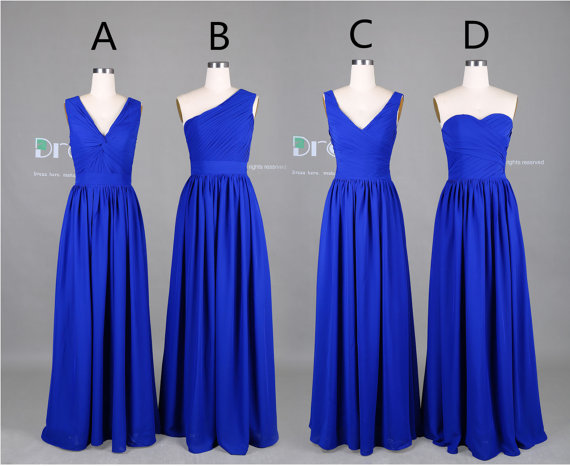 New 2017 Custom Made Royal Blue Long Chiffon Bridesmaid Dress Maid Of Honor Wedding Party Dresses Dh376