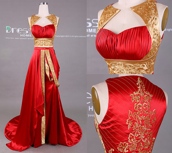 Slae Bride Top Grade Wedding Dress Bra Embroidered Bead: New Design Gold And Red Embroidery Beading Long Prom Dress