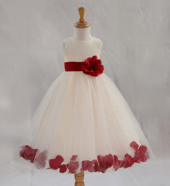 Hochzeit - Ivory / Apple Red (picture) kids Flower Girl Dress pageant wedding bridal children bridesmaid toddler sizes 6-9m 12m 2 4 6 8 10 12 14