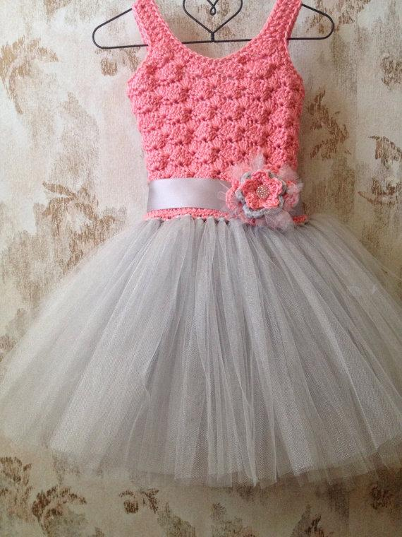 Wedding - Coral and gray crochet flower girl tutu dress