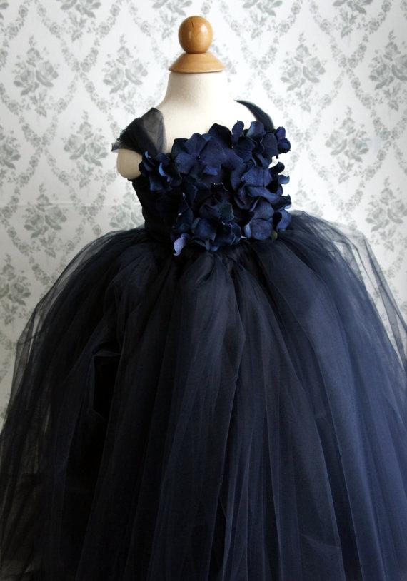 Flower Girl Dress Navy Blue Tutu Dress Flower Top Baby