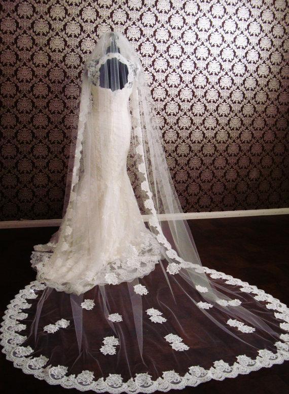 Hochzeit - Chapel Length Lace Drop/Circle Veil Floating Lace Edge Petal Veil Beaded Lace Bridal Veil by IHeartBride V-1DL Elizabeth Drop Veil