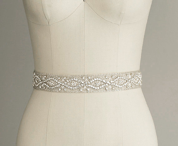 Catherine crystal bridal belt sash rhinestone wedding for Sparkly belt for wedding dress