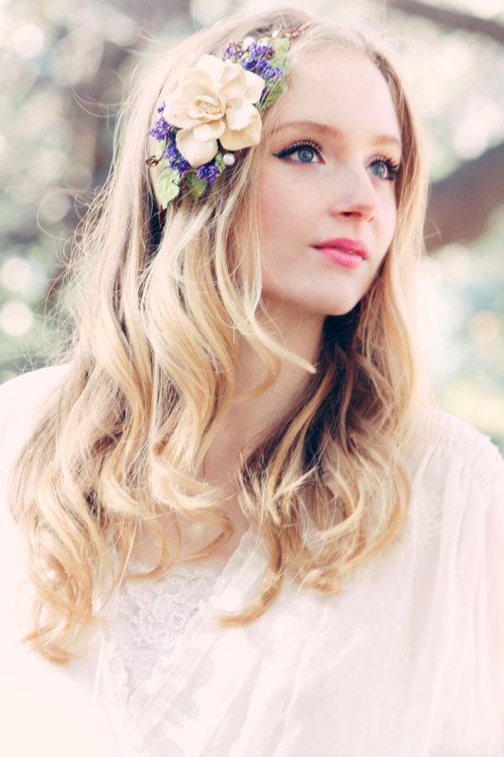 Mariage - purple headpiece, rustic bridal headpiece, woodland wedding, pine cone rose, purple flower crown