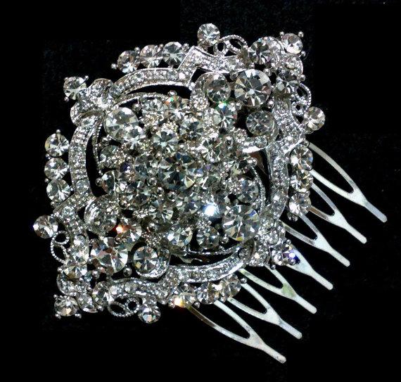 Mariage - Art Deco Bridal Hair Comb, Victorian Headpiece, Vintage Style Wedding, Swarovski Crystal Jewelry, ALPHA