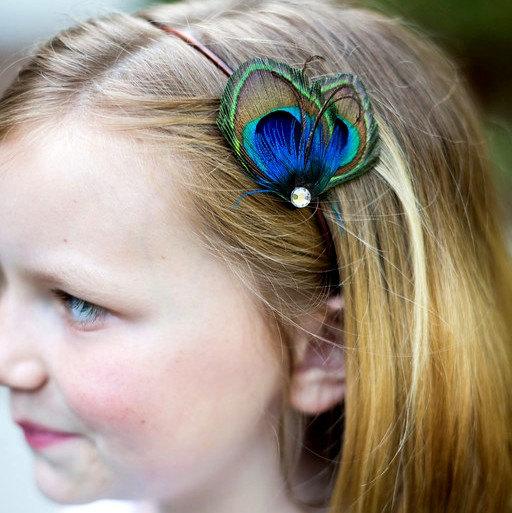 زفاف - Wedding Flower Girl Peacock Headband - Mini Peacock Feather Headband - Petit Paon - Made to Order