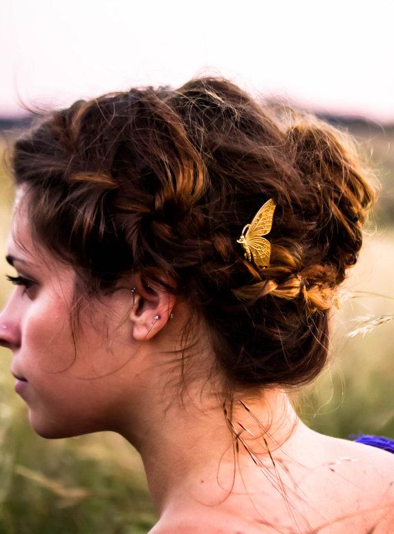 Wedding - Gold Butterfly Hair Pin Woodland Themed Bobby Pin  Butterfly Hair Clip Wedding Hair Barrette  Summer Hair PIn