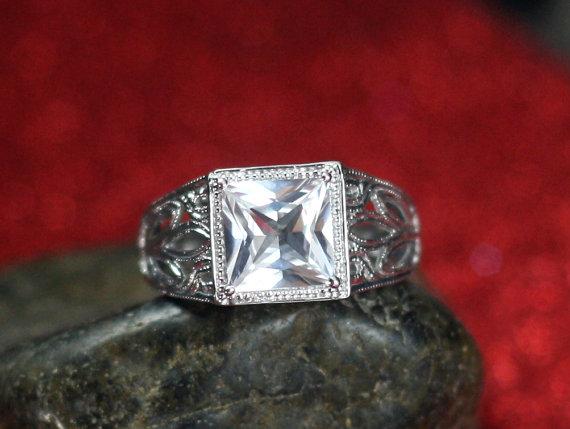 Wedding - White Topaz Engagement Ring Plutus Antique Style Filigree Princess Cut Custom Size White-Yellow-Rose Gold-10k-14k-18k-Platinum