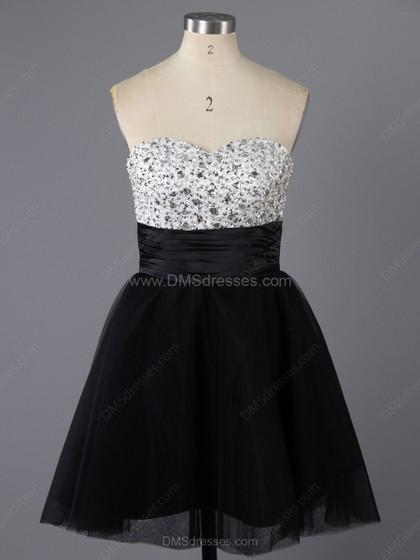 Hochzeit - A-line Tulle Sweetheart Beading Short/Mini Formal Dresses
