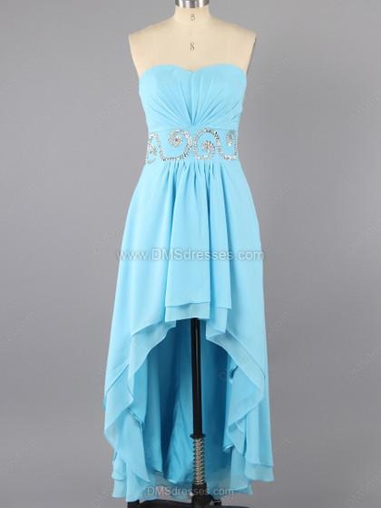 Hochzeit - A-line Chiffon Sweetheart Beading Asymmetrical Formal Dresses