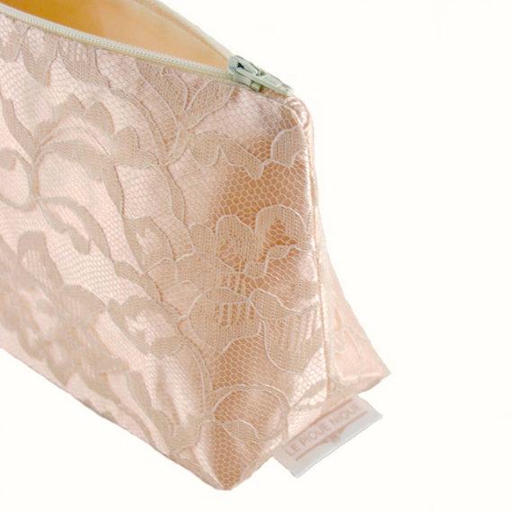 Hochzeit - Blush Pink & Vintage Cream Bridal Cosmetic Bag Bridesmaid Gift (Blush Wedding, Blush Bridesmaid Gift)