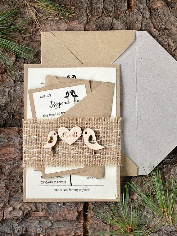 Custom Listing 20 Rustic Wedding Invitation Birds Invitation – Wood Invitations Wedding