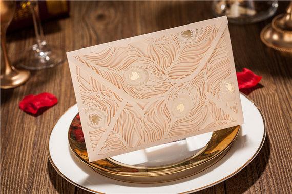 زفاف - 25 Pcs Wedding Invitation With Peacock Feather Design / Ship Worldwide 3-5 Days -- Set of 25