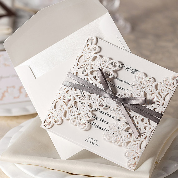 Hochzeit - 140 Pcs Vintage Wedding Invitation Cards With Gray Ribbon Bow + 140 RSVP cards with envelopes + 140 Direction Cards