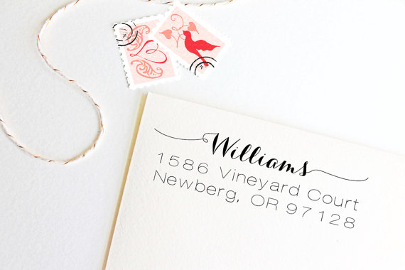 Wedding - Return address stamp with script name, wedding address stamp, self inking, rubber stamp wood handle
