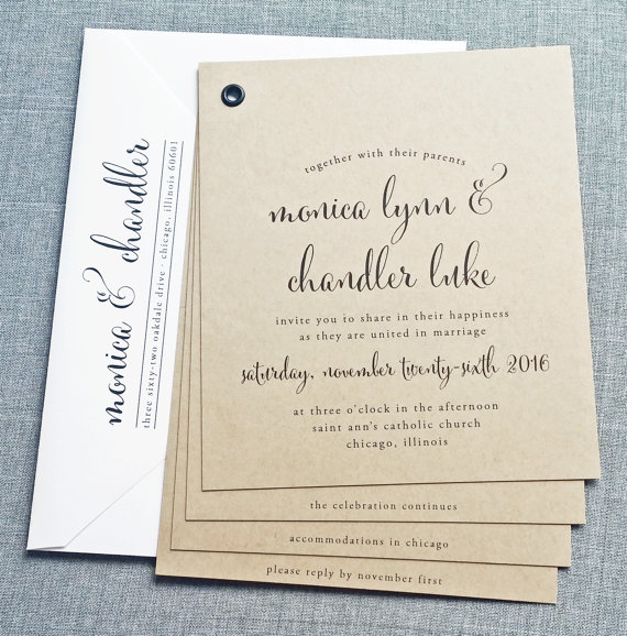 Mariage - Monica Kraft Booklet Wedding Invitation Sample - Black Calligraphy Font, Rustic Wedding Invitation