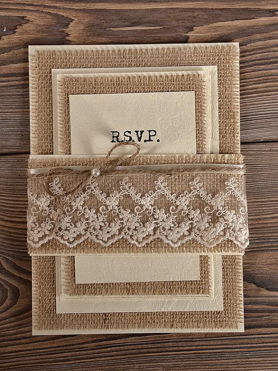 Свадьба - Custom listing (20) Natural Burlap  Wedding Invitation, Country Style Wedding Invitations,  Rustic Wedding  Invitations