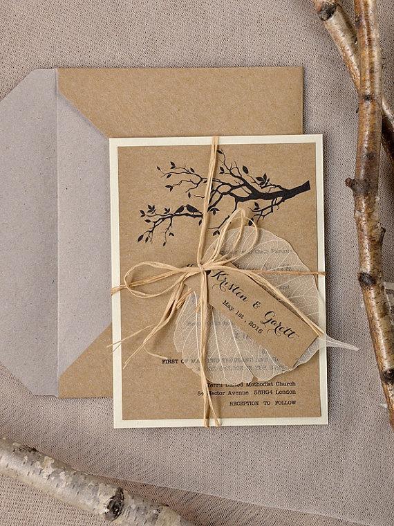 Свадьба - Rustic Wedding Invitations (20), Wedding Invitation Suite,Tree Wedding Invitation, Garden wedding invitation, Birds  Lovebirds Invites