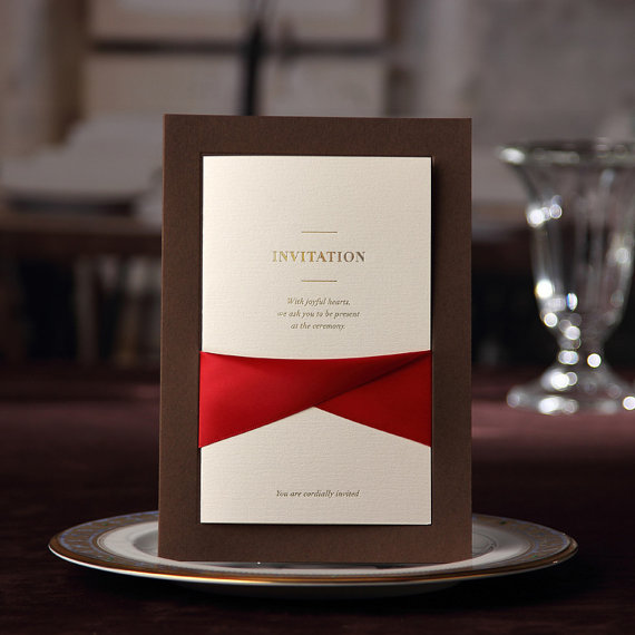 Свадьба - Luxury Coffee Invitation with Elegant Ribbon, High Quality Invitation cards, Ship Worldwide 3-5 Days-- Set of 50