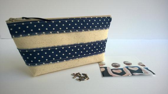 Wedding - Navy Clutch, Nautical Wedding, Bridesmaid Gifts, Bridal Clutch, Linen Handbag, Blue and White, Navy Wedding