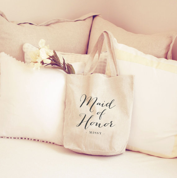 Personalized Maid Of Honor Tote Bag Bridal Party Gift