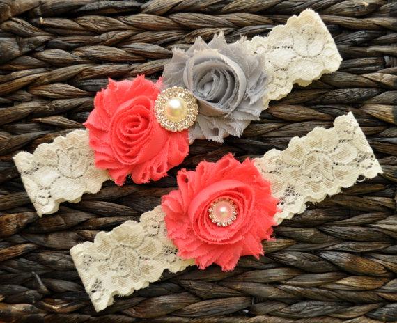 Mariage - Wedding Garter, Bridal Garter Set, Coral Wedding Garter Belt, Coral Bridal Garter, Ivory Lace Garter, Gray Wedding Garter, Gray Garter