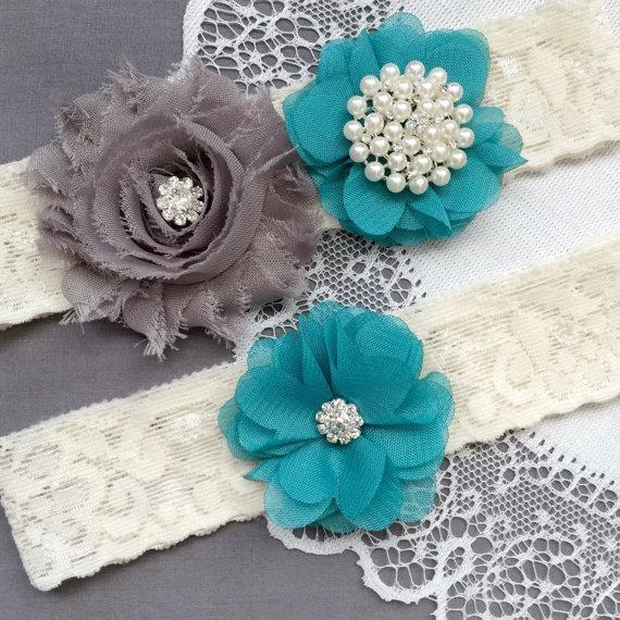 Wedding - Wedding Garter Belt Set Bridal Garter Set Lace Garter Belt Rhinestone Garter Set Crystal Garter Ivory Grey Turquoise GR181LX
