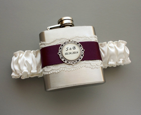 Mariage - Personalized Satin & Lace FLASK GARTER -- Ivory and Eggplant Purple (Other Colors Available)