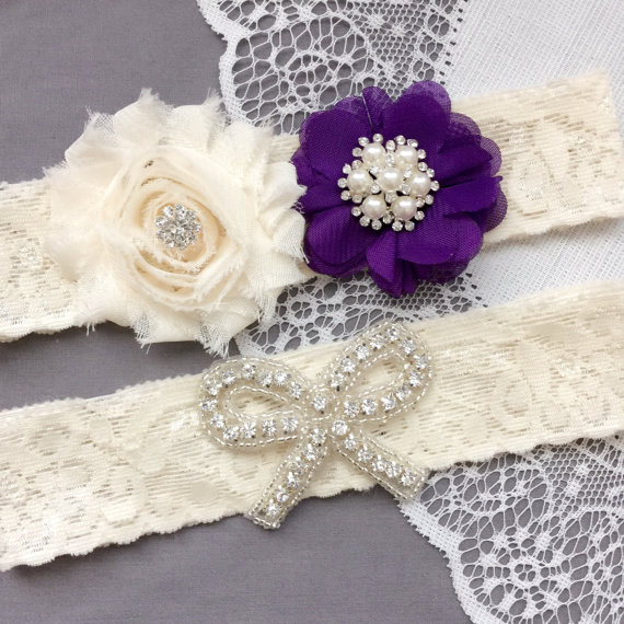 Mariage - Wedding Garter Set Bridal Garter Set Eggplant Dark Purple Lace Garter Set Rhinestone Crystal Bow Ivory Lace Garter GR176LX