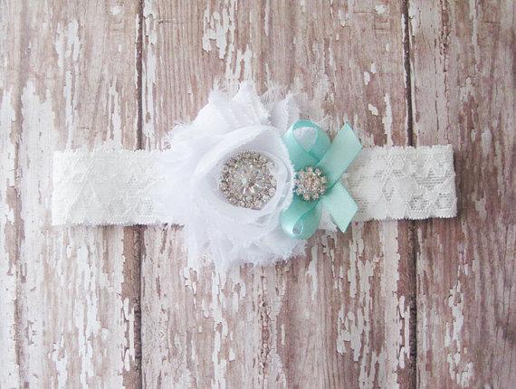 Wedding - White and Blue Toss Garter