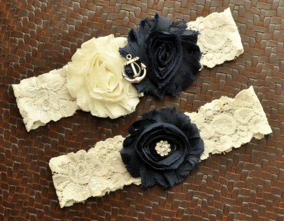 Hochzeit - Navy Wedding Garter Set, Anchor Bridal Garter Set, Ivory Lace Wedding Garter, Navy Garter, Nautical Garter, Anchor Garter, Ocean Garter