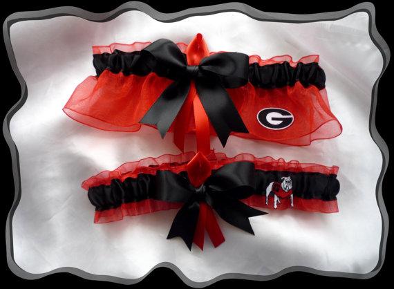 Wedding - Organza Ribbon Wedding Garter Set Made with Georgia Bulldogs Fabric