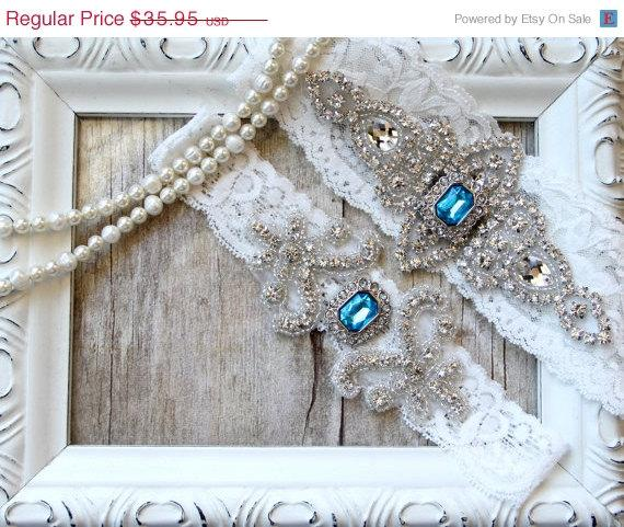 Hochzeit - CUSTOMIZE Your Garters - Wedding Garter w/ toss -Turquoise Blue Gemstones, Something Blue, Crystal Garters, Bridal Garter, Wedding