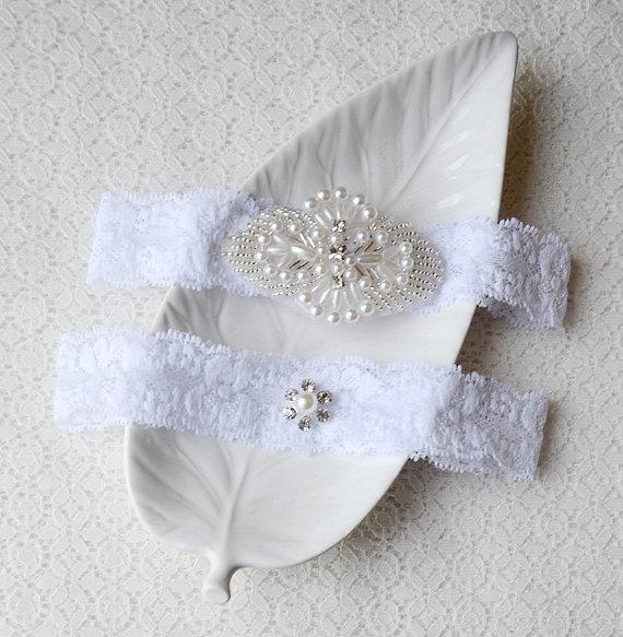 Beach Wedding Garter: Wedding Garter Bridal Garter Set White Lace Garter Belt
